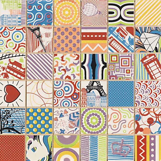 Dune Voyage Colourful Vintage Pop Art Tile