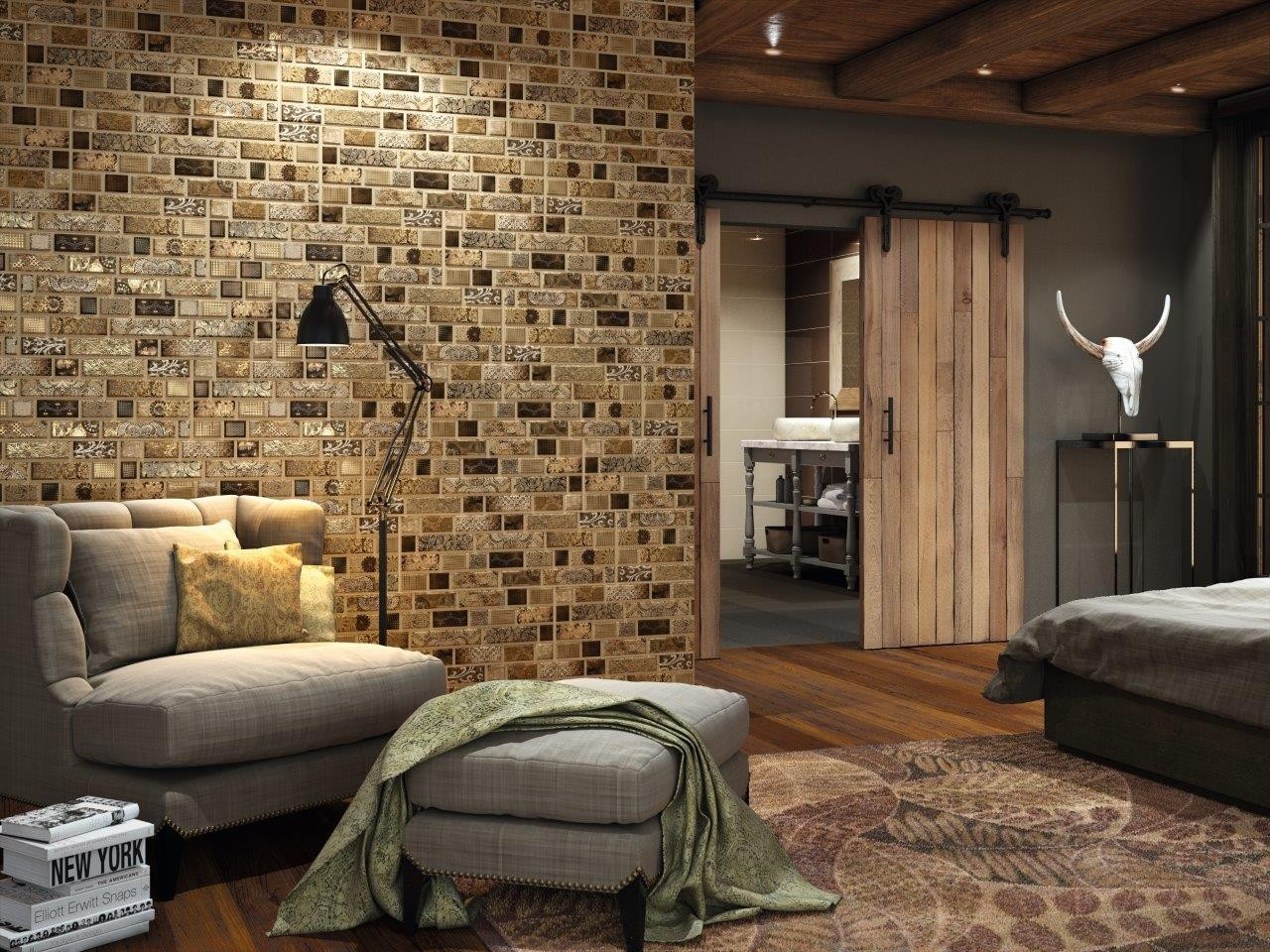 Carisma brown ceramic feature wall brick effect tile for Which wall for feature wall