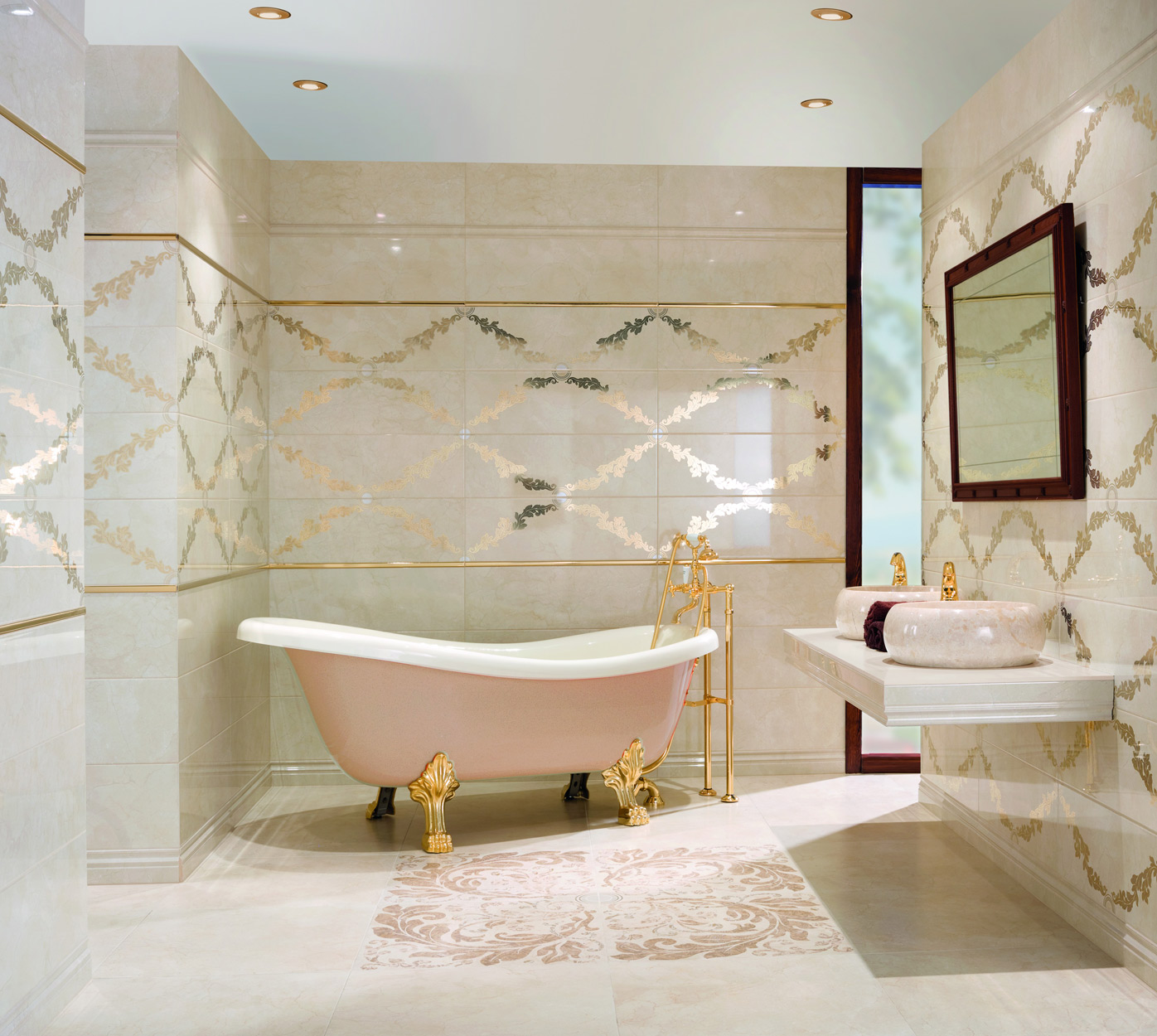 Premium Cream Feature walll tile with real gold pattern
