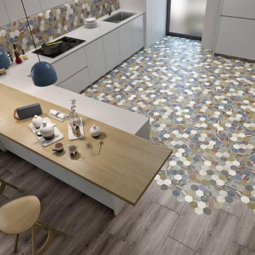 Multicoloured floor tiles
