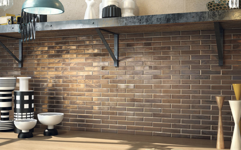 Brushed Brick shapped copper kitchen wall