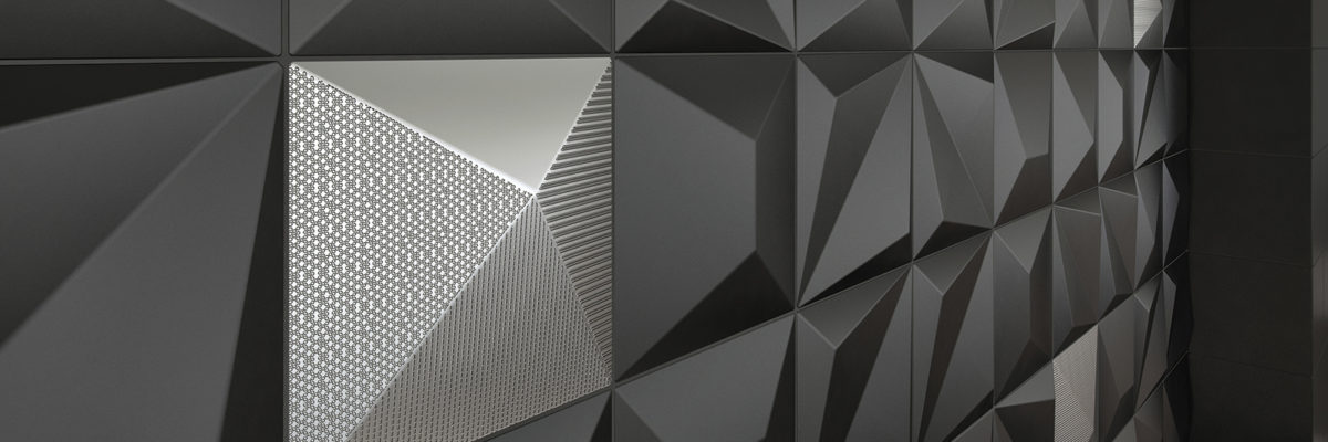 Black and silver tile feature